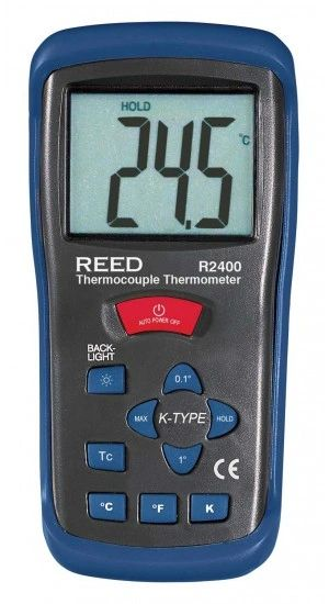 REED R2400 Type K Thermocouple Thermometer, -58 to 2000°F (-50 to 1300°C) and 223 to 2000 Kelvin
