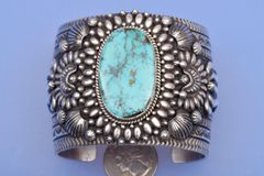 Wide Navajo Sterling cuff with Pilot Mountain turquoise by Darryl Bicenti.—SOLD!
