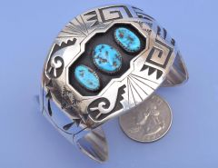 Dazzling Navajo shadow-box Sterling cuff with Sleeping Beauty turquoise by Kee Brown.