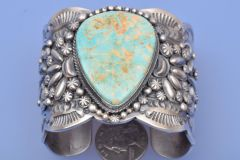 Wide Sterling silver Navajo cuff with Royston mine turquoise, by Gilbert Tom, Navajo.—SOLD!