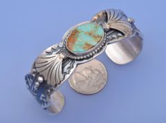 Navajo Sterling cuff with Royston, Nevada turquoise by Gilbert Tom.—SOLD!