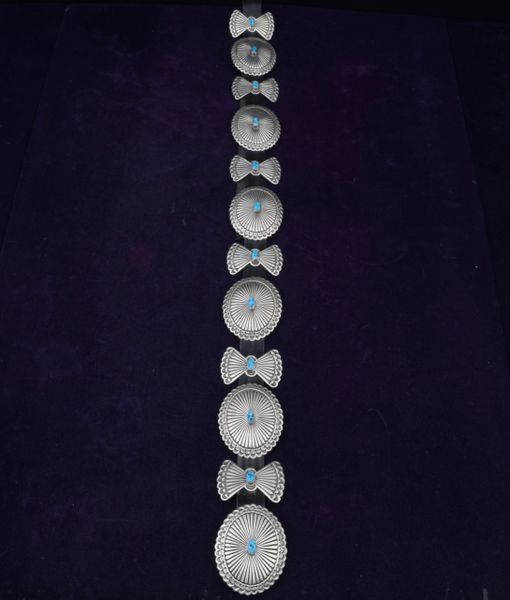 Navajo dead-pawn concho belt with turquoise stones and alternating butterfly conchos. #0061