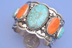 Large Navajo cuff with orange spiney oyster shell and Kingman turquoise.