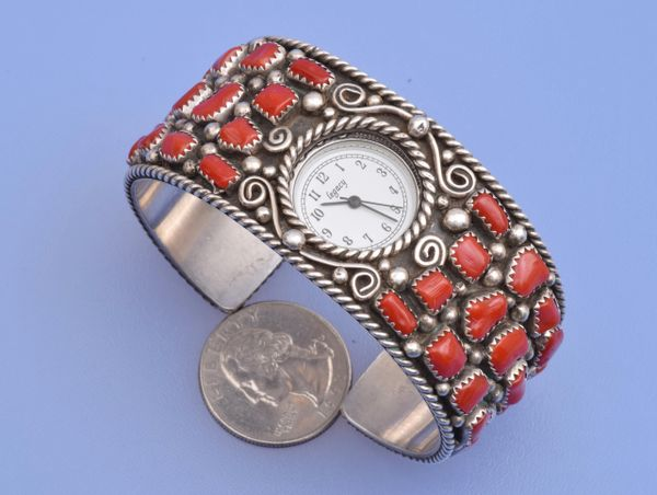 Navajo dead-pawn Sterling watchband (new watch included) with 42 pieces of Mediterranean blood-red coral.