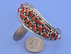 Sterling Navajo cuff with Mediterranean red coral.