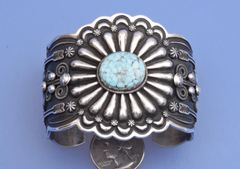 Extreme Repousse` Sterling cuff with Dry Creek turquoise by Darrell Cadman