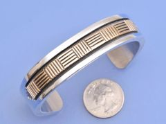 Navajo Gold and heavy-silver man's cuff by Bruce Morgan.—SOLD!