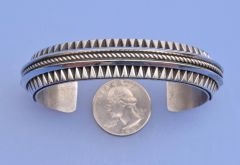 Large Navajo Sterling cuff with deep hand-stamping by L. Tahe.