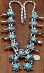 New squash blossom necklace with Kingman mine turquoise by Chimney Butte.