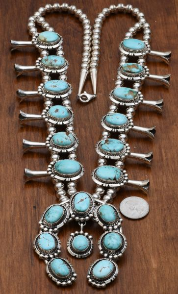 Navajo squash blossom necklace with Kingman mine turquoise, by Augustine Largo. #0652