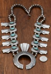 Vintage, signed, original Tommy Singer Navajo squash blossom necklace with No. 8 Mine turquoise (click on pic for more photos)