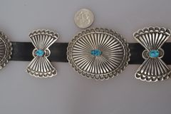 Navajo dead-pawn concho belt with turquoise stones and alternating butterfly conchos