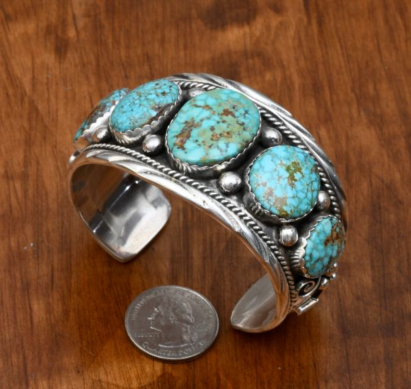 Stunning six-stone Sterling Navajo cuff with Royston, Nevada turquoise by Augustine Largo.