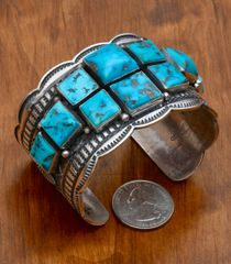 Classic Navajo Sterling cuff with ten square Sleeping Beauty stones, by Andy Cadman