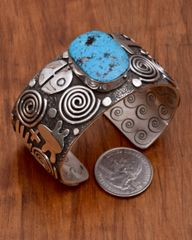 """Petroglyph"" style Navajo cuff with turquoise, by Alex Sanchez"