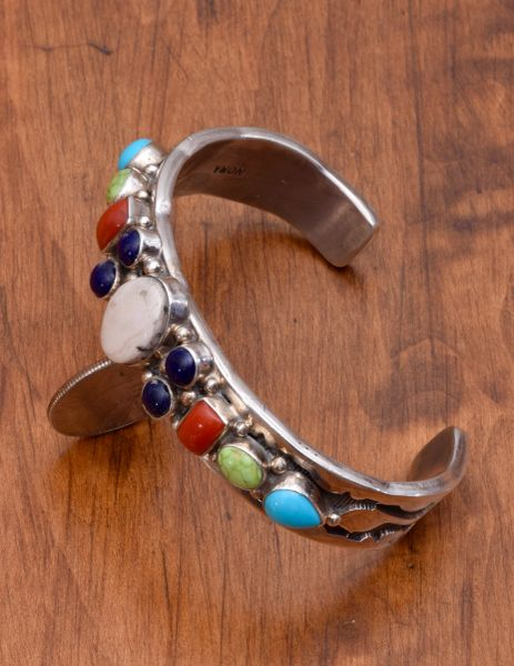 Dead-pawn multi-stone Navajo cuff with heavy silver by Nora Tahe Bill