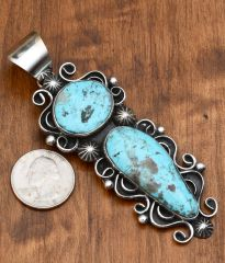 Large Sterling pendant with Kingman turquoise by Chimney Butte.