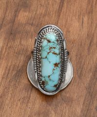 Sterling Navajo ring with Royston turquoise by Alfred Martinez
