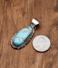 Smaller Navajo Sterling pendant with Kingman turquoise by Augustine Largo, Navajo.—SALE PENDING!