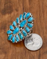 Navajo Sterling cluster ring with Sleeping Beauty turquoise by Justin Wilson, Jr.