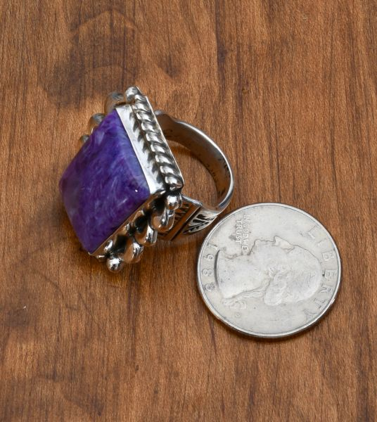 Sterling Navajo ring with charoite stone by Robert Shakey