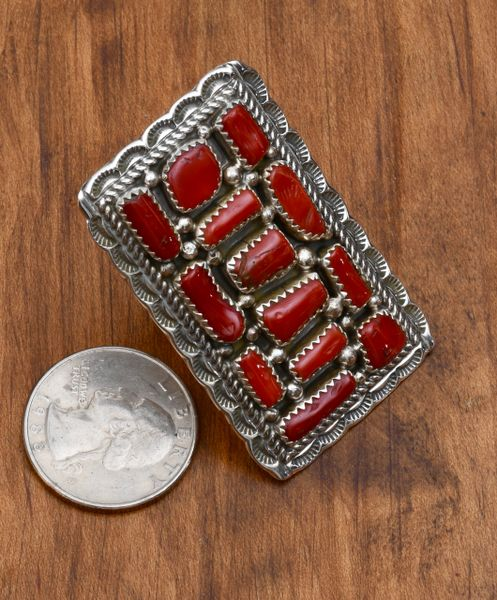 Mediterranean red-coral and Sterling Navajo cluster ring.