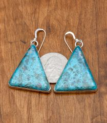 Navajo Sterling triangular-shaped earrings with Kingman turquoise.