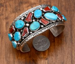 Dead-pawn Navajo Sterling cuff with Mediterranean red coral and Kingman, Arizona turquoise.