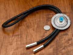 Navajo Sterling bolo tie with extra-thick lanyard and custom tips.