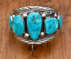 Navajo Sterling cuff with five large Kingman turquoise stones by Augustine Largo.