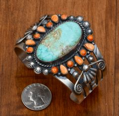 Spiney oyster and turquoise Navajo Sterling pawn cuff by Hemerson Brown.