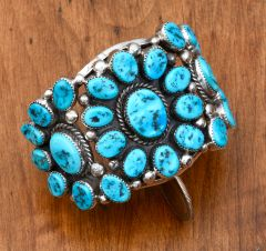 Classic dead-pawn Sterling cluster-cuff with 27 Sleeping Beauty turquoise stones.