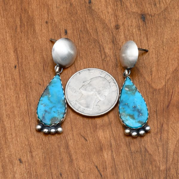 Navajo Sterling two-piece earrings with Kingman turquoise by Selina Warner.