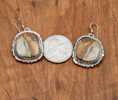 Navajo Sterling earrings with bookend-match boulder (ribbon) turquoise earrings by Augustine Largo