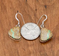Smaller Navajo Sterling earrings with boulder (ribbon) turquoise by Elouise Kee.