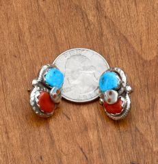 Larger size Zuni Pueblo Sterling Effie earrings with Mediterranean red coral and Kingman turquoise.