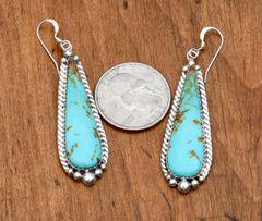 Elegant Navajo Sterling earring with Kingman turquoise by Virginia Beccen.