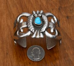 Navajo dead-pawn sand-cast Sterling cuff.—SALE PENDING