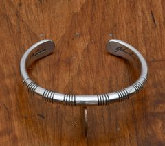 Large wrist size dead-pawn Sterling Navajo cuff by Jonathan Nez.