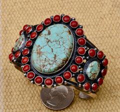 Sterling Navajo triplet two-color cluster cuff by Anthony Skeets.