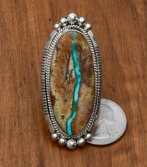 Size 9 Sterling Navajo ladies ring with ribbon (boulder) turquoise by Alonzo Largo.—SOLD!