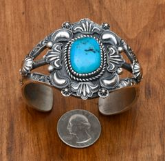 Sterling Navajo old-style cuff with Kingman turquoise by Kevin Billah.