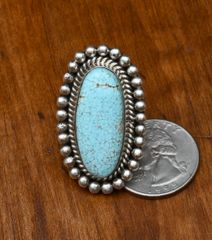 Size 8 Sterling Navajo No. 8 Mine turquoise ring, by Michael Spencer.