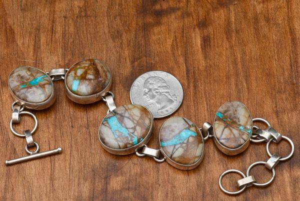 Navajo Sterling link bracelet with boulder/ribbon turquoise by P.A. Smith.