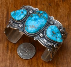 Man's or woman's Navajo Sterling triplet cuff by Fred Maloney.