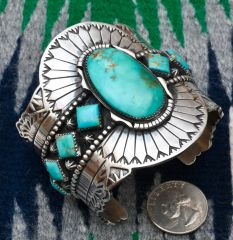 Drop-dead gorgeous Navajo Sterling Cuff with Royston turquoise, by Marcus Chavez.—SOLD!