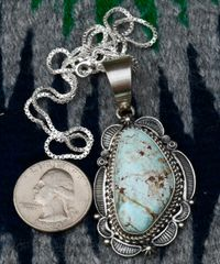 Navajo Sterling pendant with Dry Creek Turquoise by Emma Mae Linkin.