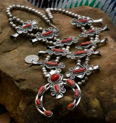 Vintage Navajo Sterling silver squash blossom with branch red coral.