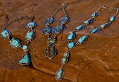 "Large Navajo Sterling silver ""lariat""-style pendant necklace set (w/matching earrings) by Gilbert Tom.—ALL HAVE SOLD!"