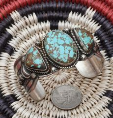 Navajo Sterling triplet cuff with new No. 8 Mine turquoise by Gilbert Tom.